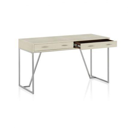 Knox Desk - Ivory Shagreen/Polished SS