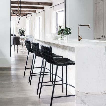 Milano Woven Leather Low Back Kitchen Stool