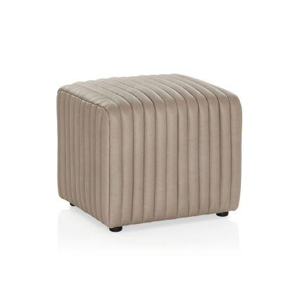 Rosetta Ottoman - Cement Leather