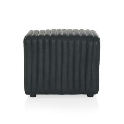Rosetta Ottoman - Black Leather